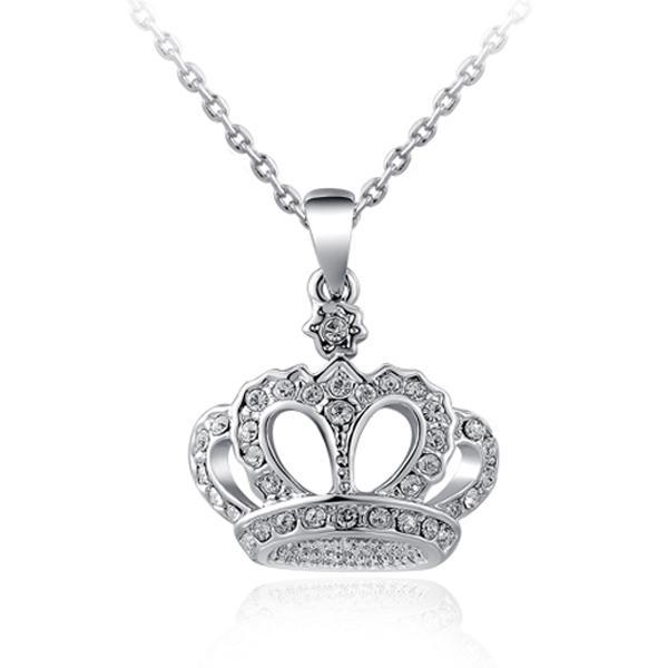 Atacado-Top Quality Crown Colar Rhinestone Cristal Prata Ouro Banhado Pingente Colares Classic Colares Colar de jóias para mulheres