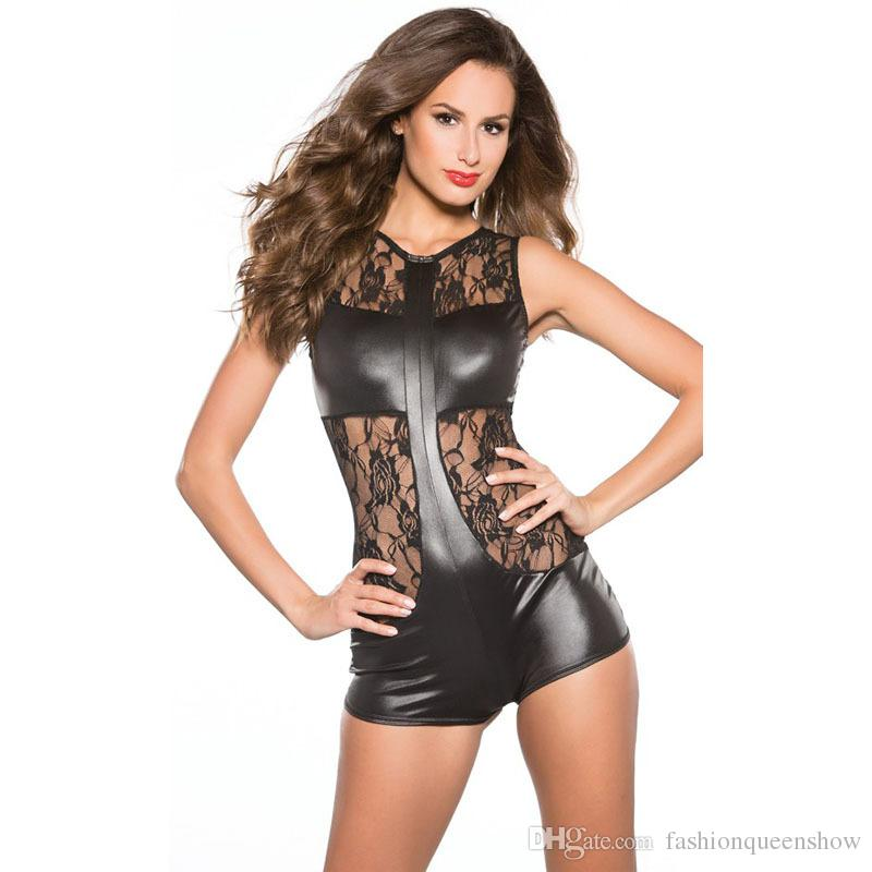 Women Lace Leather Sleeveless Bodysuit Jumpsuit Catsuit Leotard Romper Costume