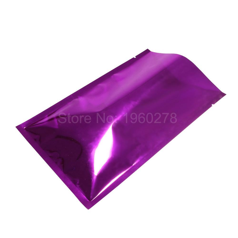 12x18cm (4.75x7in) Глянцевая фиолетовая металлическая майларовая фольга Упаковочная сумка Термосварные мешки для хранения с открытым верхом с надрезом 100шт.