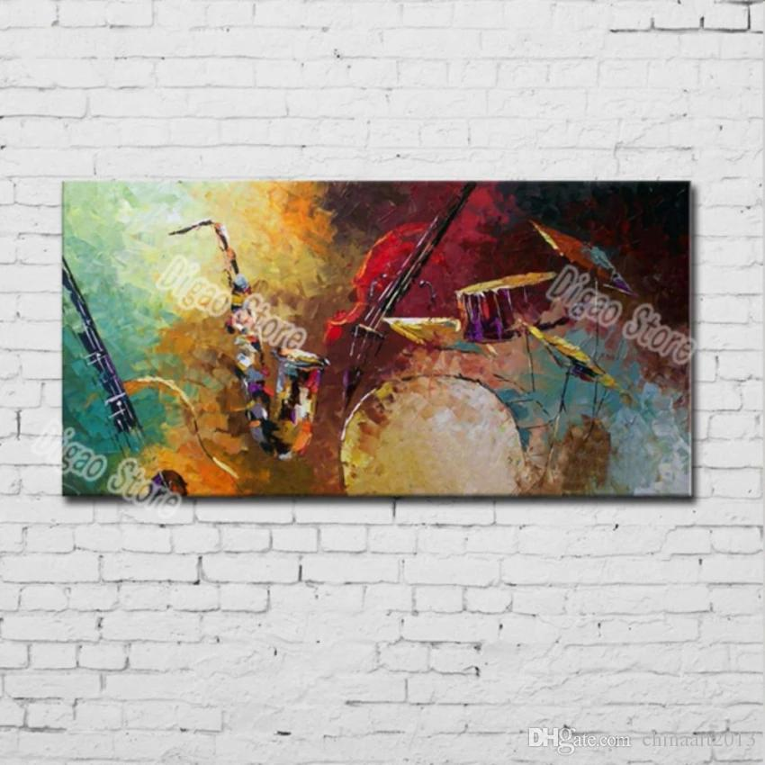 Textured hand painted musical instruments abstract oil painting modern home decoration
