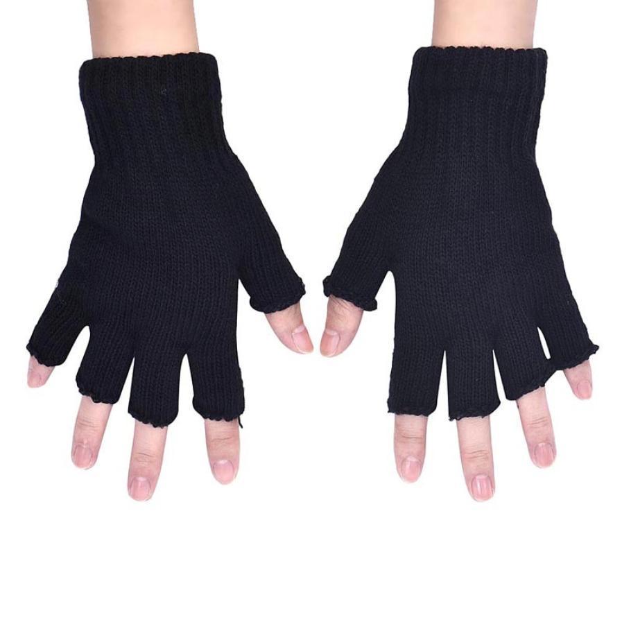 Vente en gros - Hommes Noir Stretch Élastique Chaud Demi Finger Fingerless gants hiver femmes gants Hommes Demi Doigts mitaines 16.5cm