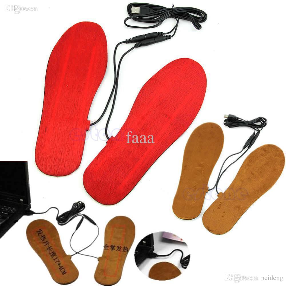 Toptan-1 Çift USB Elektrik Powered Isıtmalı Tabanlık Ayakkabı Çizme Ayaklar Sıcak Tutmak Için Yeni
