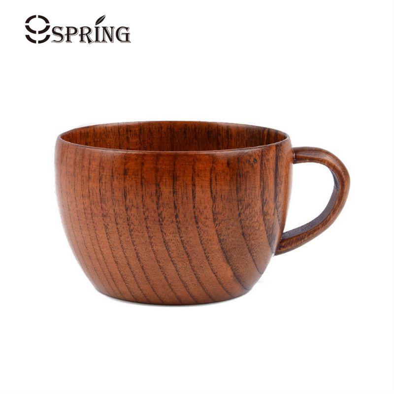 Tazza da tè in legno classico da 200 ml Tazza da caffè in legno naturale tazza di giuggiola con impugnatura latte / acqua / tazza di succo per i bambini bar casa