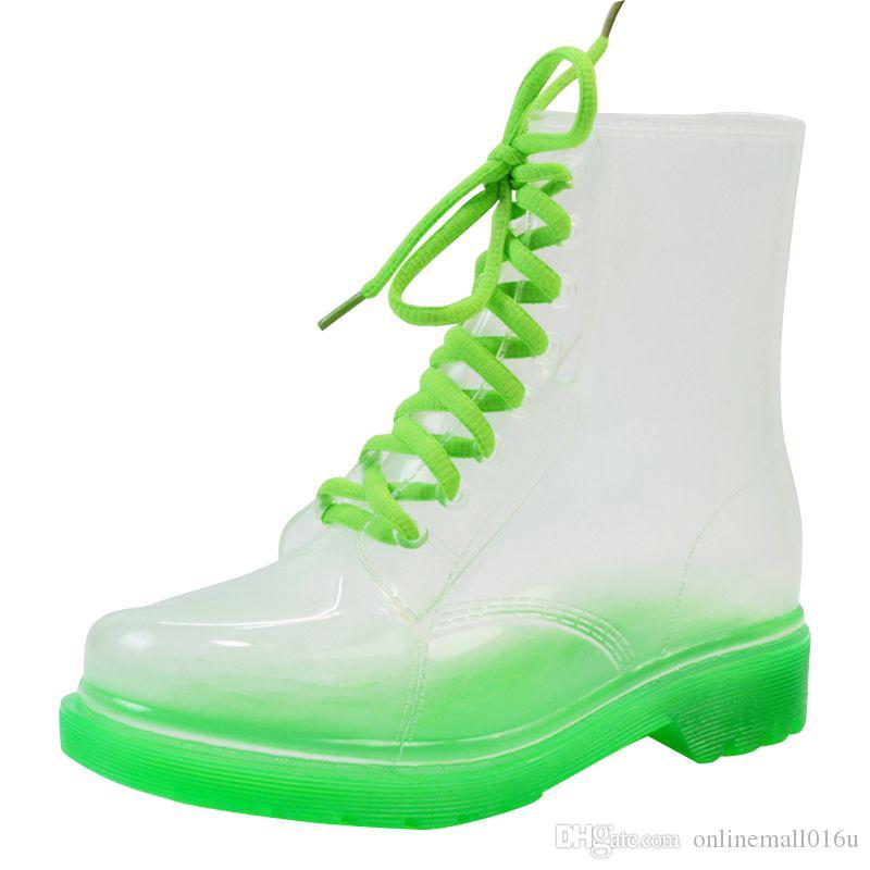 2017 nuovo arrivo 14 colori stivali da pioggia trasparenti donne stivali impermeabili Martin scarpe gelatina d'acqua
