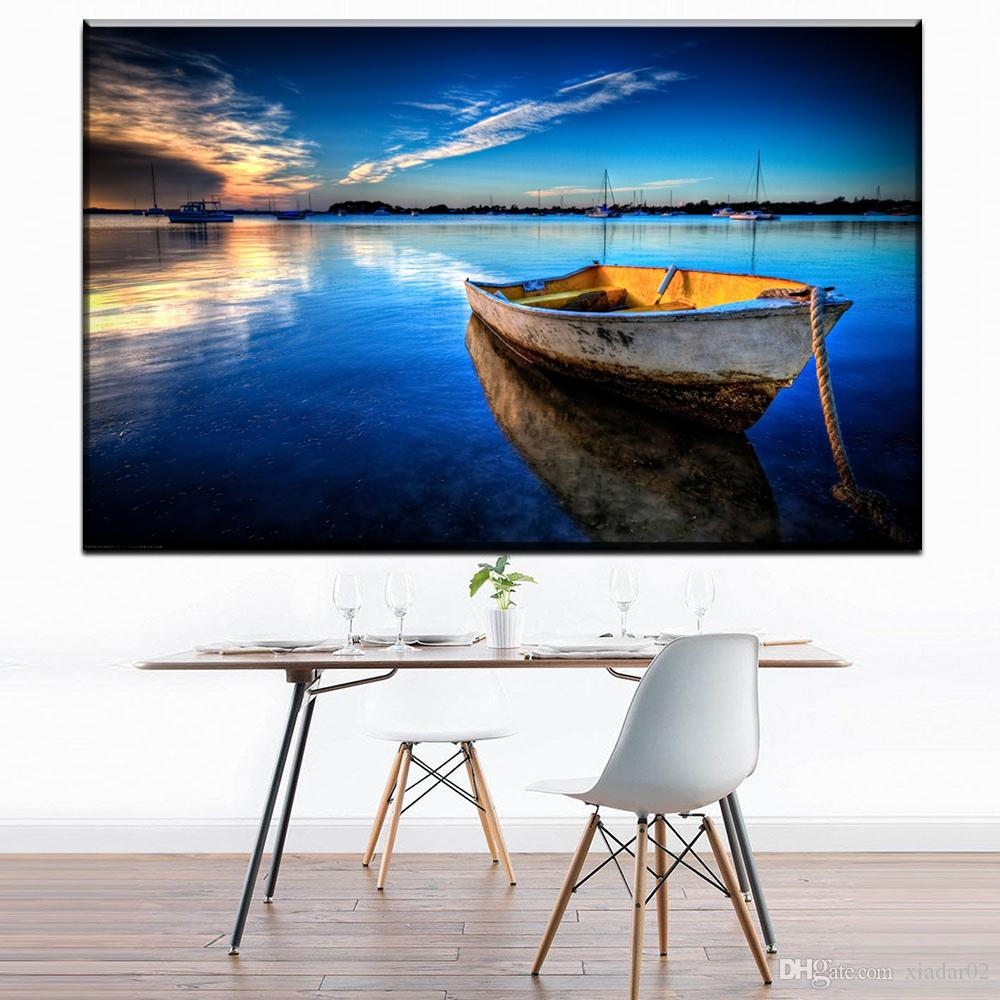 ZZ1241 modern decorative canvas art small boat seascape canvas pictures oil art painting for livingroom bedroom decoration art