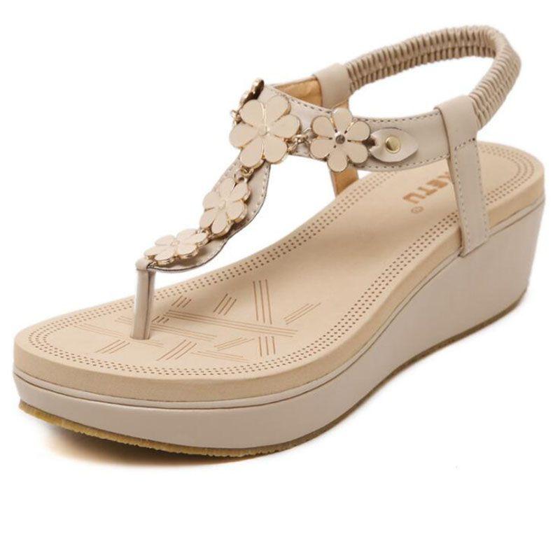 2017 Yeni Kore Elastik Kemer Toka Eğim Sandalet Ayakkabı Ile Tanga Sandalet Kadın Ayakkabı PU Deri Düz Sandalet