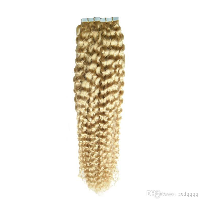 Use of human hair 613 Bleach Blonde Double Drawn Tape In Human Hair Extensions 40 pcs 100g deep curly skin weft tape hair extensions