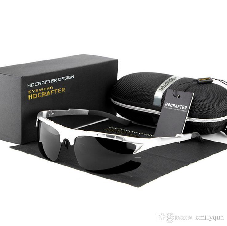 브랜드 남자 운전 안경 알루미늄 마그네슘 항공 합금 남자에 대한 편광 선글라스 금속 프레임 스포츠 일 안경 드라이버 낚시