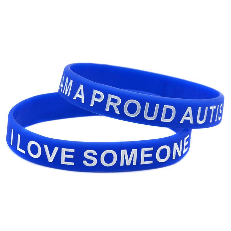 100 pcs autismo silicone borracha pulseira azul tamanho adulto debossed e cheio de cor para presente de promoção