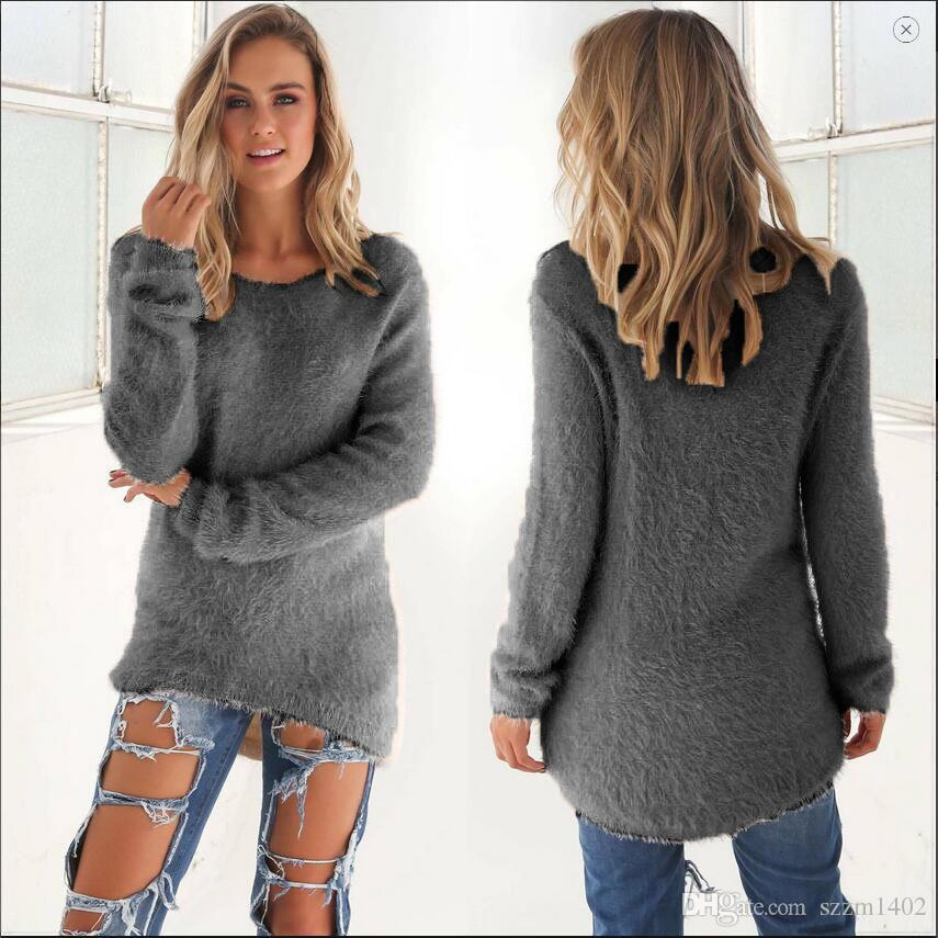 2019 Fashion Autumn Winter Women Sweater Girls Grey Pullover Long Sleeve  Casual Loose Sweater Knitted Tops Warm Mohair O Neck Causal Clothing From
