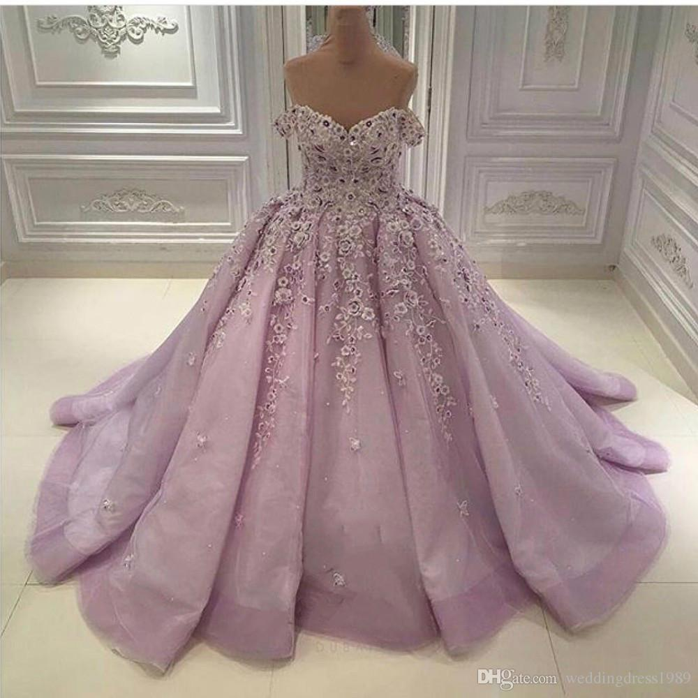 Discount Luxury Beads Off Shoulder Lilac Wedding Dresses Flower Plus Size A  Line Tulle Saudi Arabia Dubai African Bridal Gowns Ball Formal Custom ...