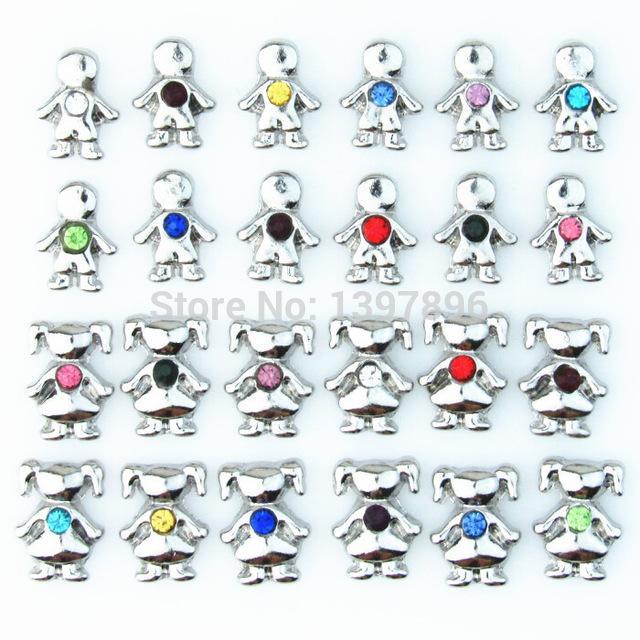 (120 pz / lot) i ragazzi e le ragazze galleggianti Charms 12 mesi Pietre fascino galleggianti fit medaglioni di vetro galleggiante