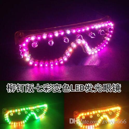 Özel LED renkli renk gözlük gece dans parti şarkıcısı gözlüklerin temel performans