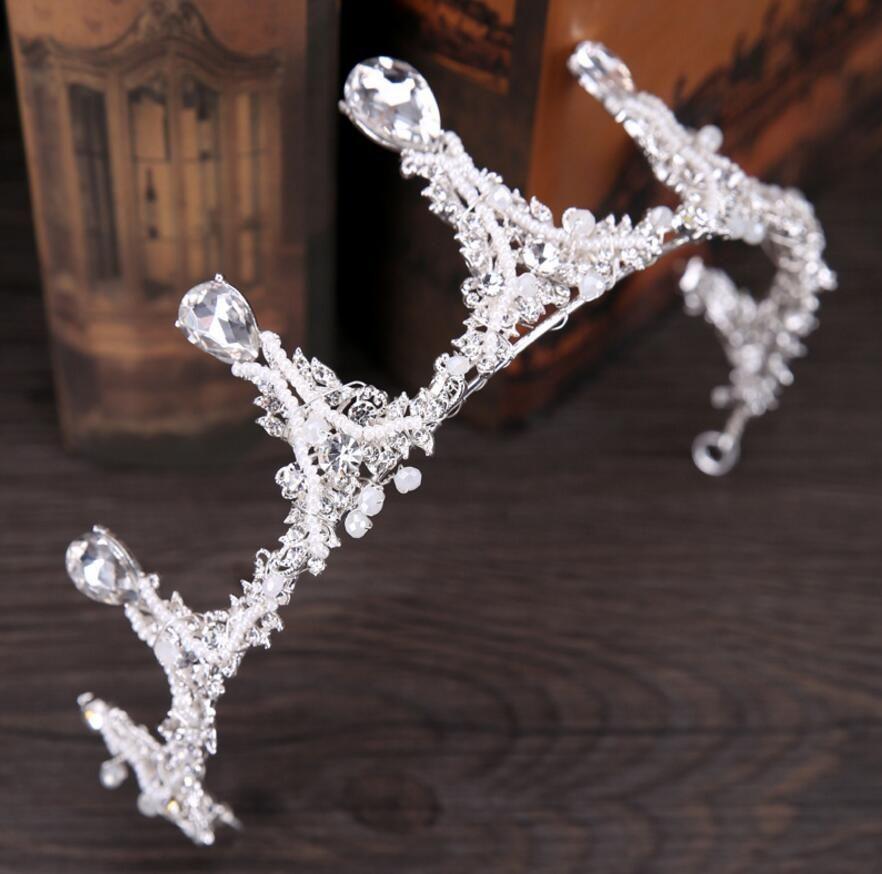 l 1 Piece Baroque Syte Crystals Rhinestones Crown Headband Head Hair Wedding Dress Jewelry Headpiece Bride Princess Ornaments