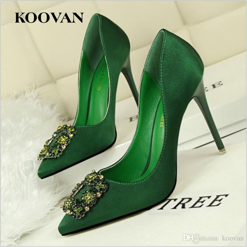 Koovan Fashion Women Pumps 2017 New Summer 10 Cm Stiletto Heel Pumps With Rhinestone Flower Nightclub Famous Star Shoes Seven Patterns W043