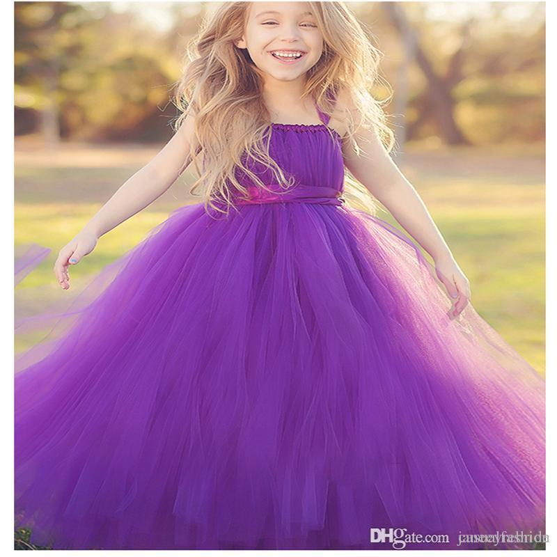 New Flower Girls Dresses Little Kids Pageant Long Tulle Puff Dresses ...