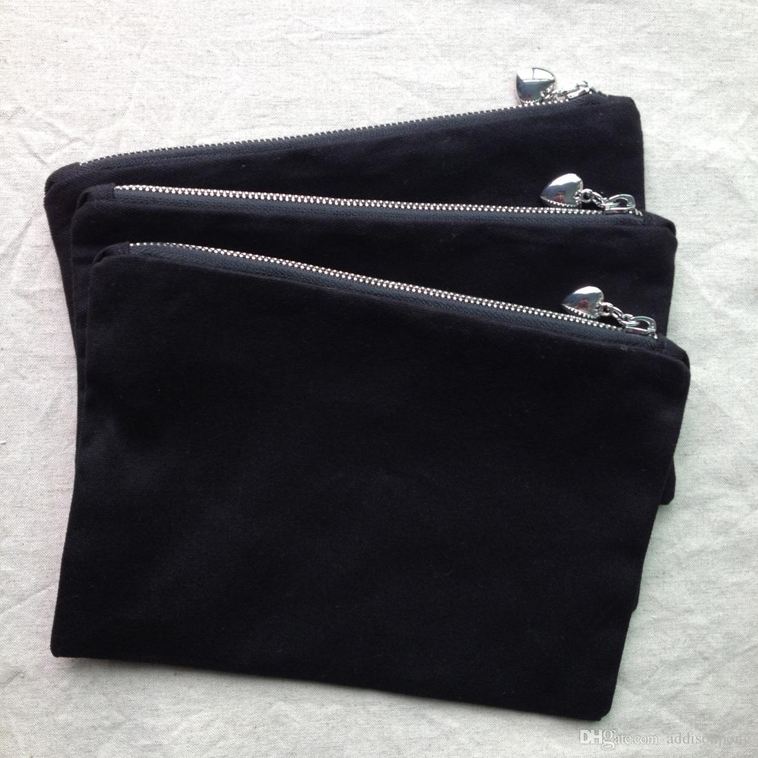 Großhandel Schwarze Baumwolle Leinwand Make Up Tasche Mit Passender Farbe Futter Top Qualität Silber Reißverschluss Mit Herz Puller Leer Baumwolle