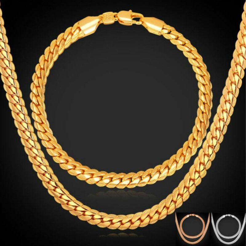 Gold / Rose cor dourada cadeia para homens Colar Pulseira Set Moda Homens Jóias Hot Define Atacado frete grátis