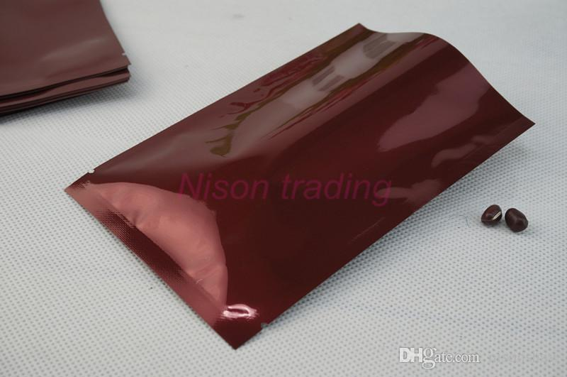 12x18cm sigillatura a caldo imballaggio pouch-200pcs / lot vino rosso foglio di alluminio semplice sacchetto, bustina di stoccaggio di plastica mylar alluminizzato, sacco rosso violaceo