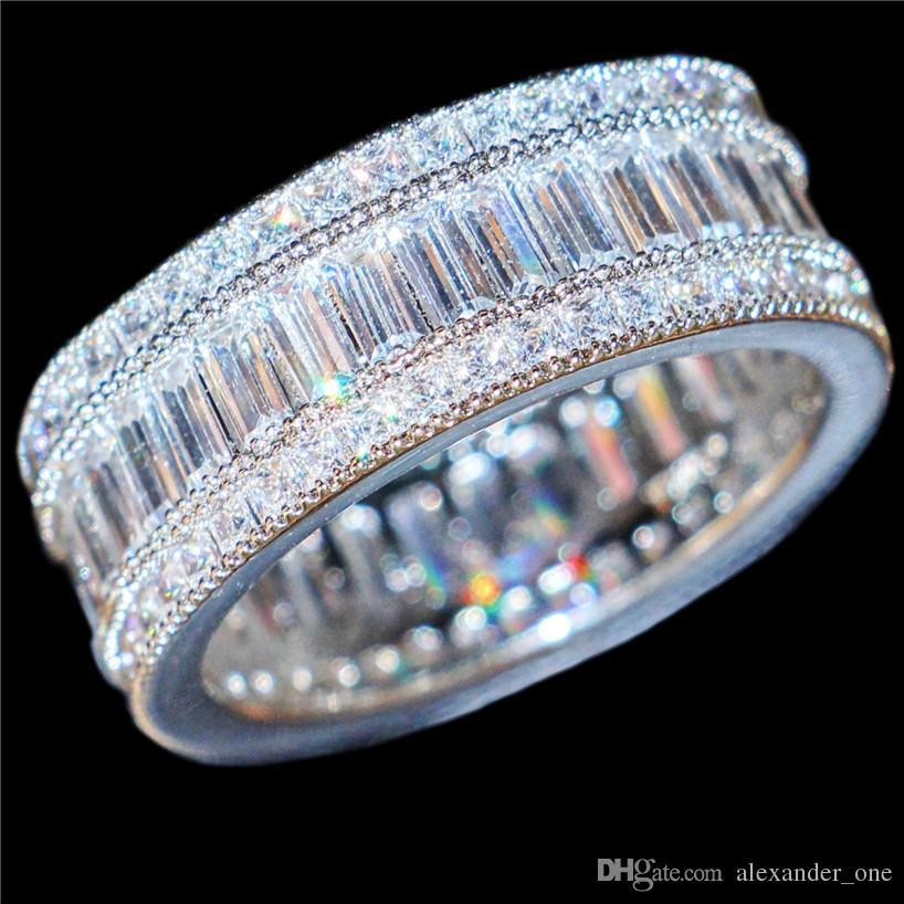 Luxe 10KT Blanc Or rempli Carré Pavé Réglage complet Simulé Diamant CZ Gemstone Anneaux Bijoux Cocktail Bague De Mariage Anneau Pour Femmes Hommes