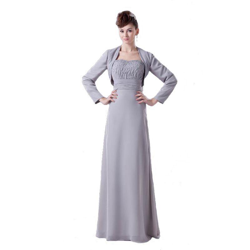 Hot Selling Brand Mother of Bride Dress Gray Chiffon With Long Sleeve Jacket Beaded Bodice Dress Mum