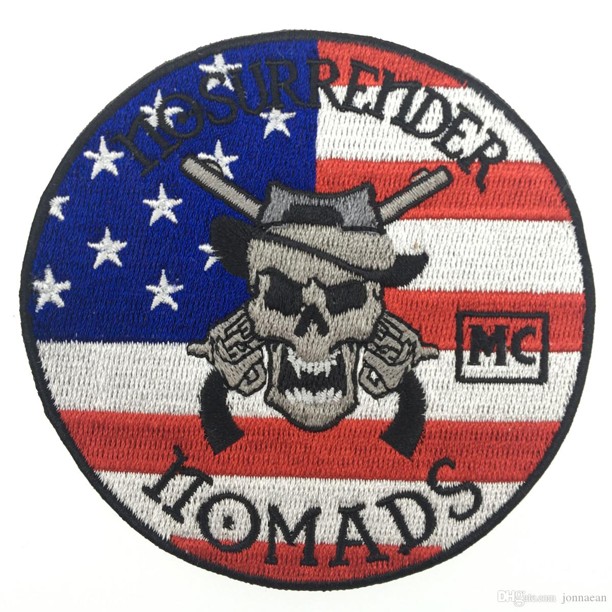 Famous No Surrender Nomads Embroidered Iron On Patch Iron On Sew On Motorcyble Club Badge MC Biker Patch Wholesale Free Shipping