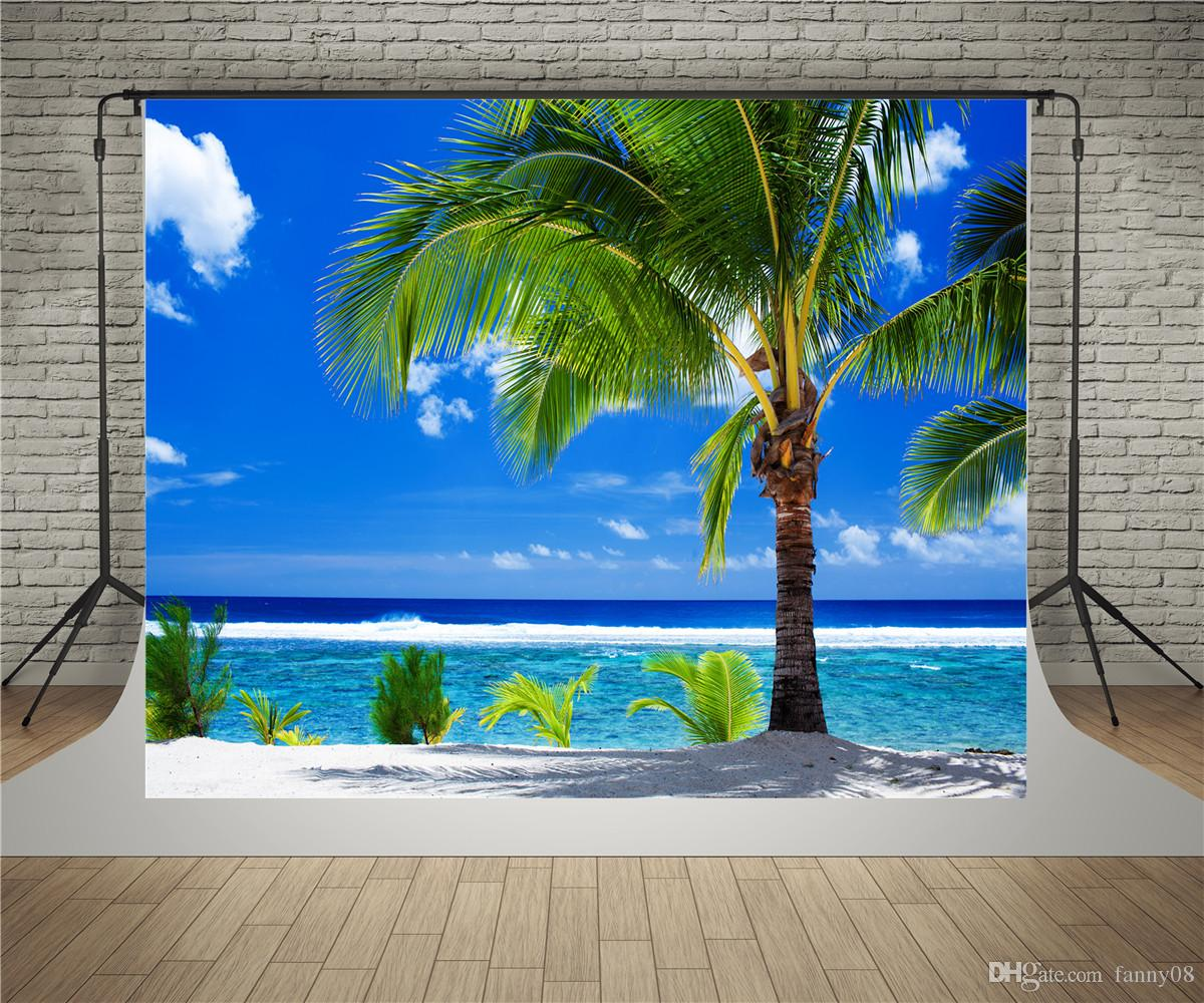 SUSU 7x5ft (220x150 cm) verão fotografia backdrops céu azul palmeiras fundo do mar rugas livre