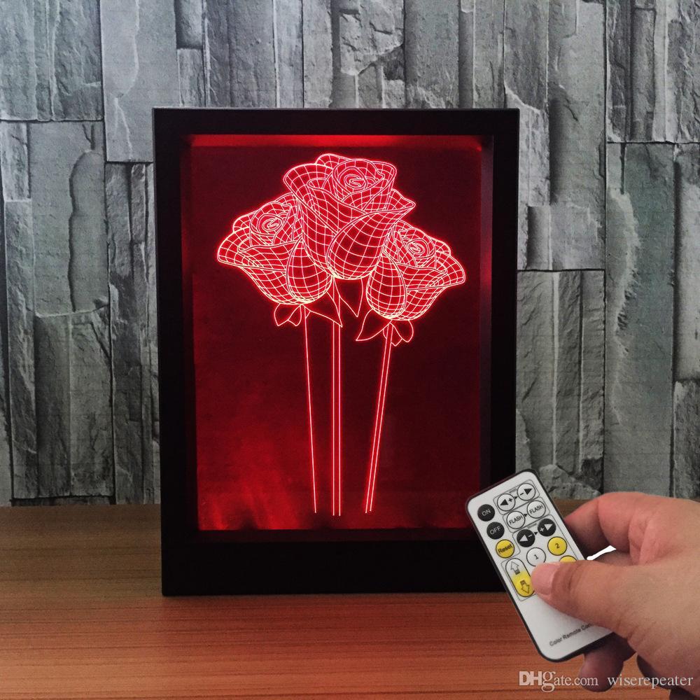 3D LED الورود إطار الصورة الديكور مصباح IR عن بعد 7 لون أضواء RGB DC 5V مصنع قطرة شحن علبة هدية