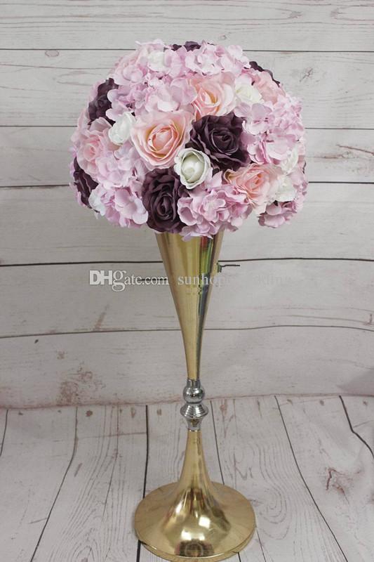 Yüksek kalite Toptan Altın / şerit / beyaz / siyah çiçek standı ile çiçek centerpieces düğün centerpieces