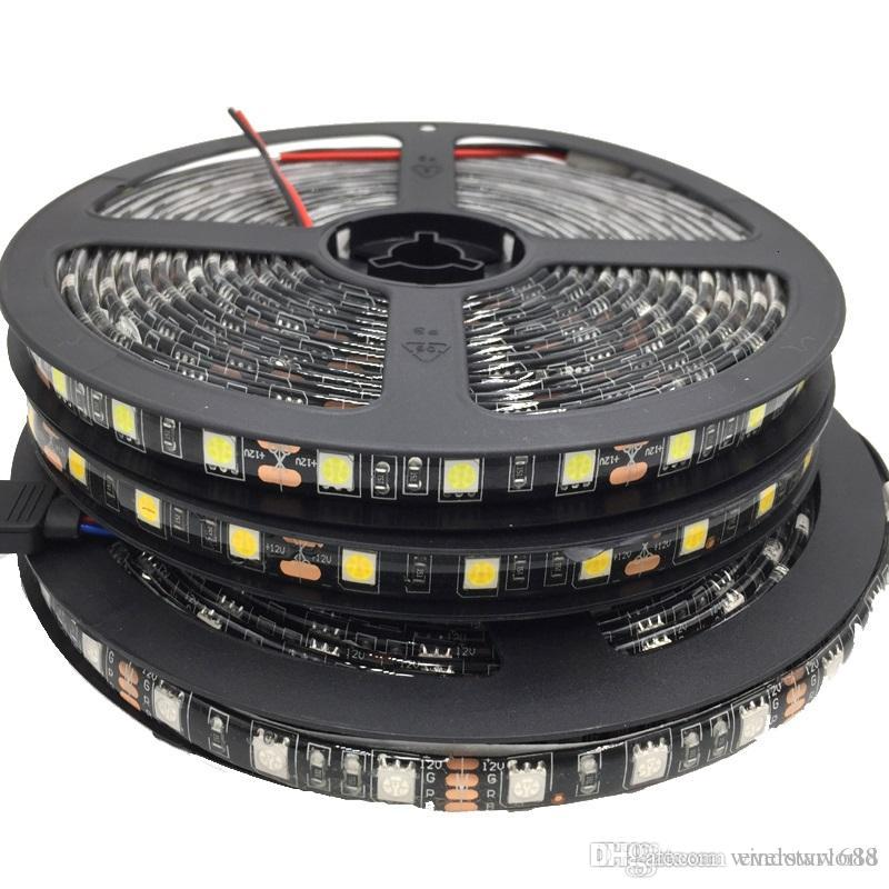 100 متر LED قطاع أسود PCB 5050 RGB ضوء شرائط 12 فولت للماء / غير ماء 5 متر 300 المصابيح 5 متر / لفة في المخزون