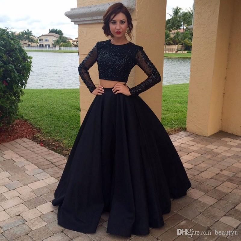 4c114d668 Black Two Pieces Cheap Party Prom Dresses 2017 Long Sleeves Crop Top Sheer  Puffy Skirt Floor Length Beads Sequined Formal Evening Gowns Canada 2019  From ...
