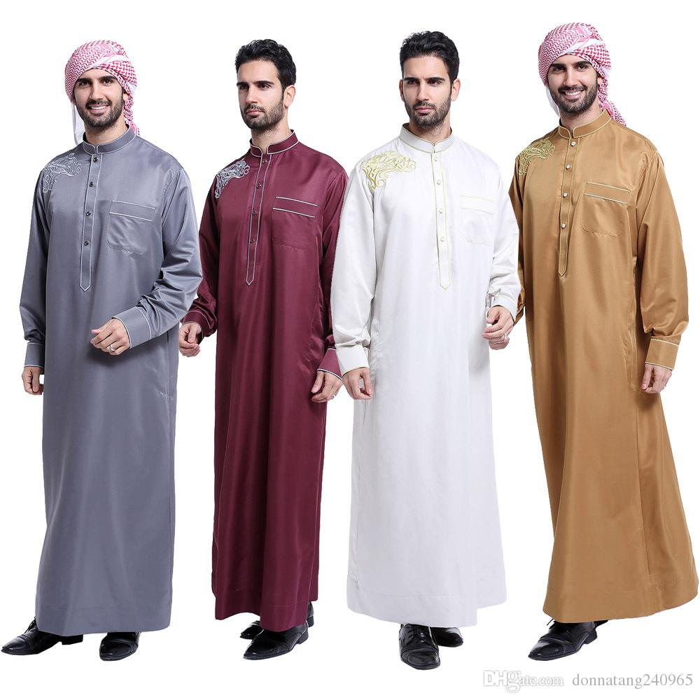 Men/'s Abaya Robe Muslim Islamic Saudi Kaftan Dress Thobe Thoub Daffah Dishdasha