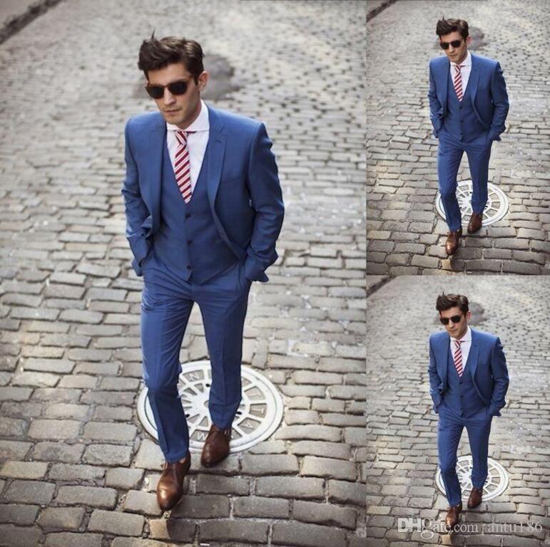Yeni erkekler suits koyu mavi yakışıklı düğün takımları özel yapılmış Damat Groomsmen Smokin erkekler balo takımları (Ceket + yelek + Pantolon)