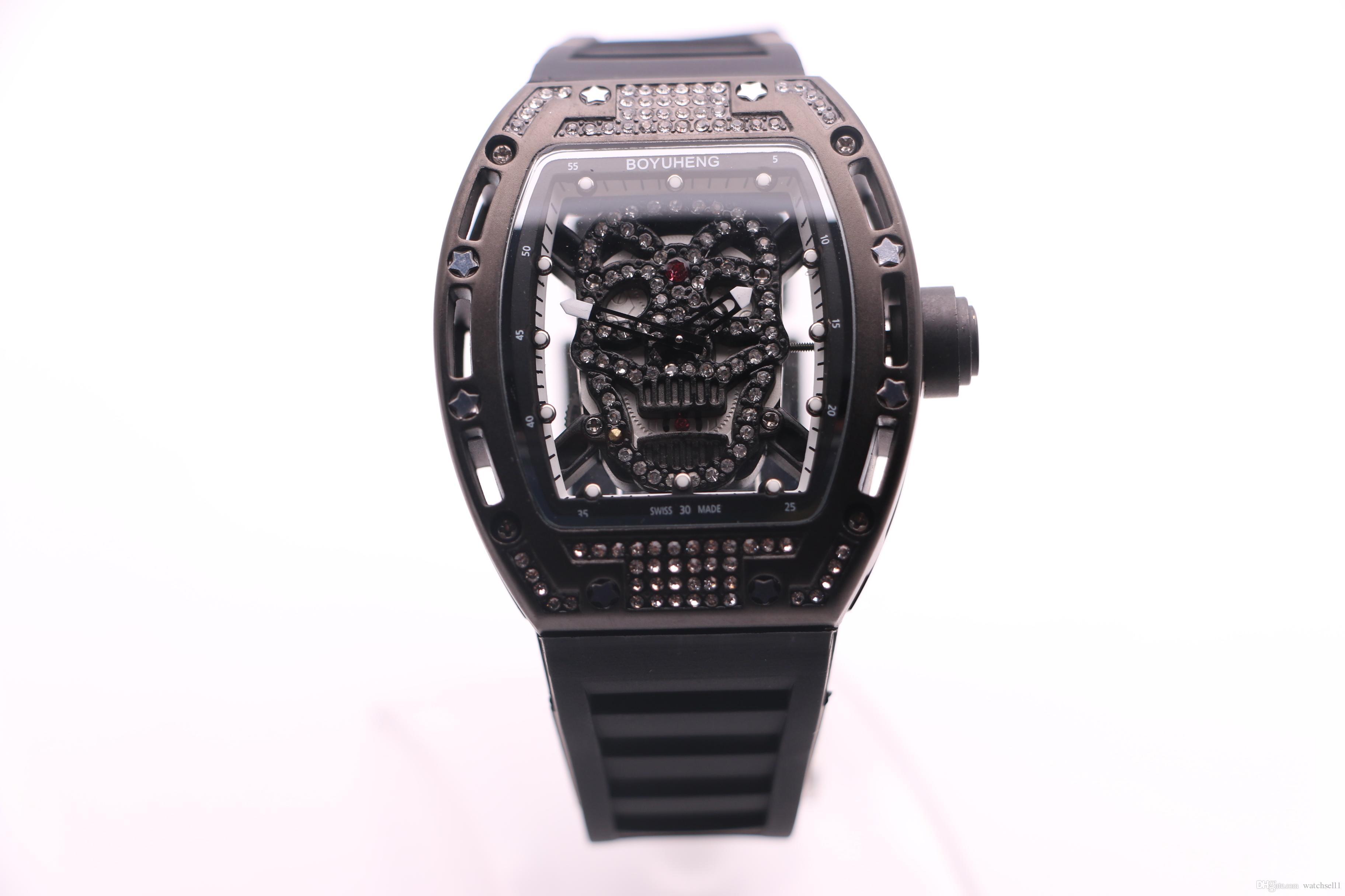 BOYUHENG 052 man good watch black/gold skull dial man's black rubber black steel case quartz diamond watch