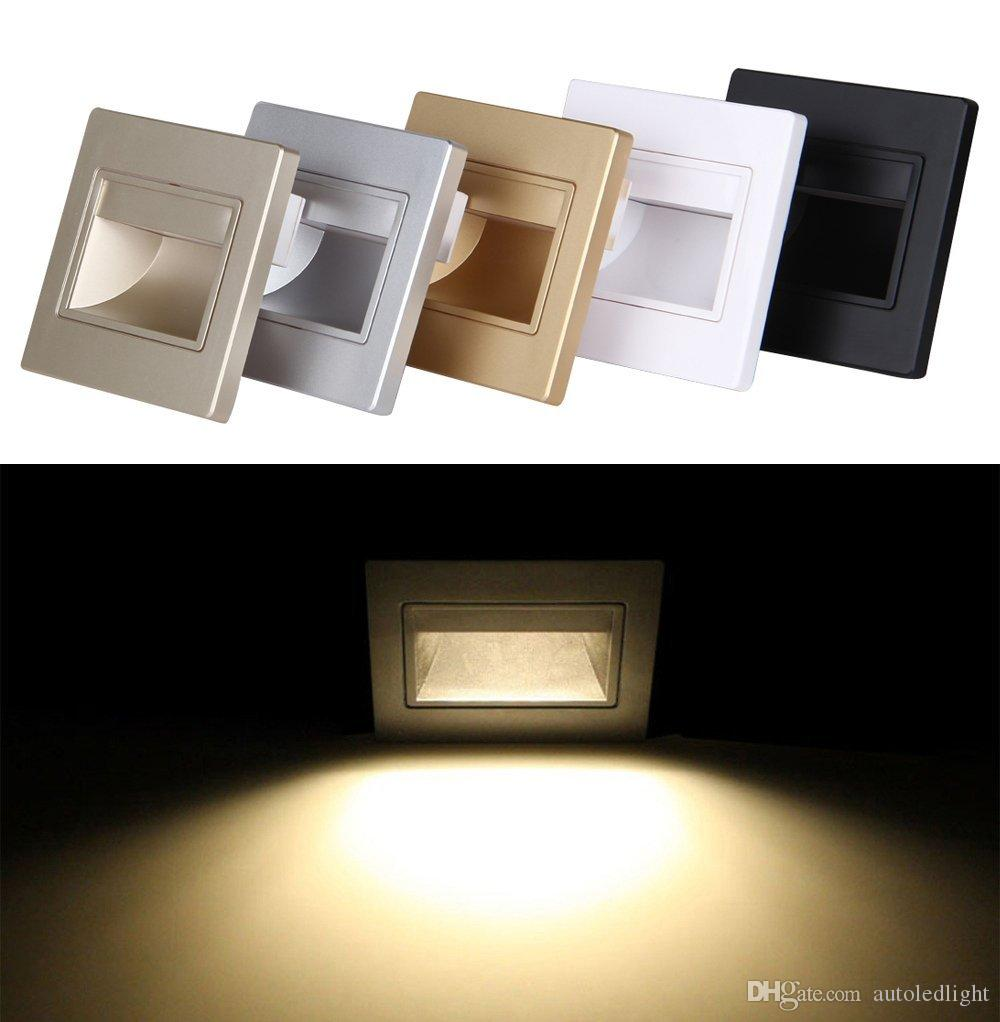 LED Slide Step Stair Light Recessed Wall Lamp 1.5W Sconces Fitting 86x86 Wire Connect Box For Indoor Corridor Cabinet Closet Silver