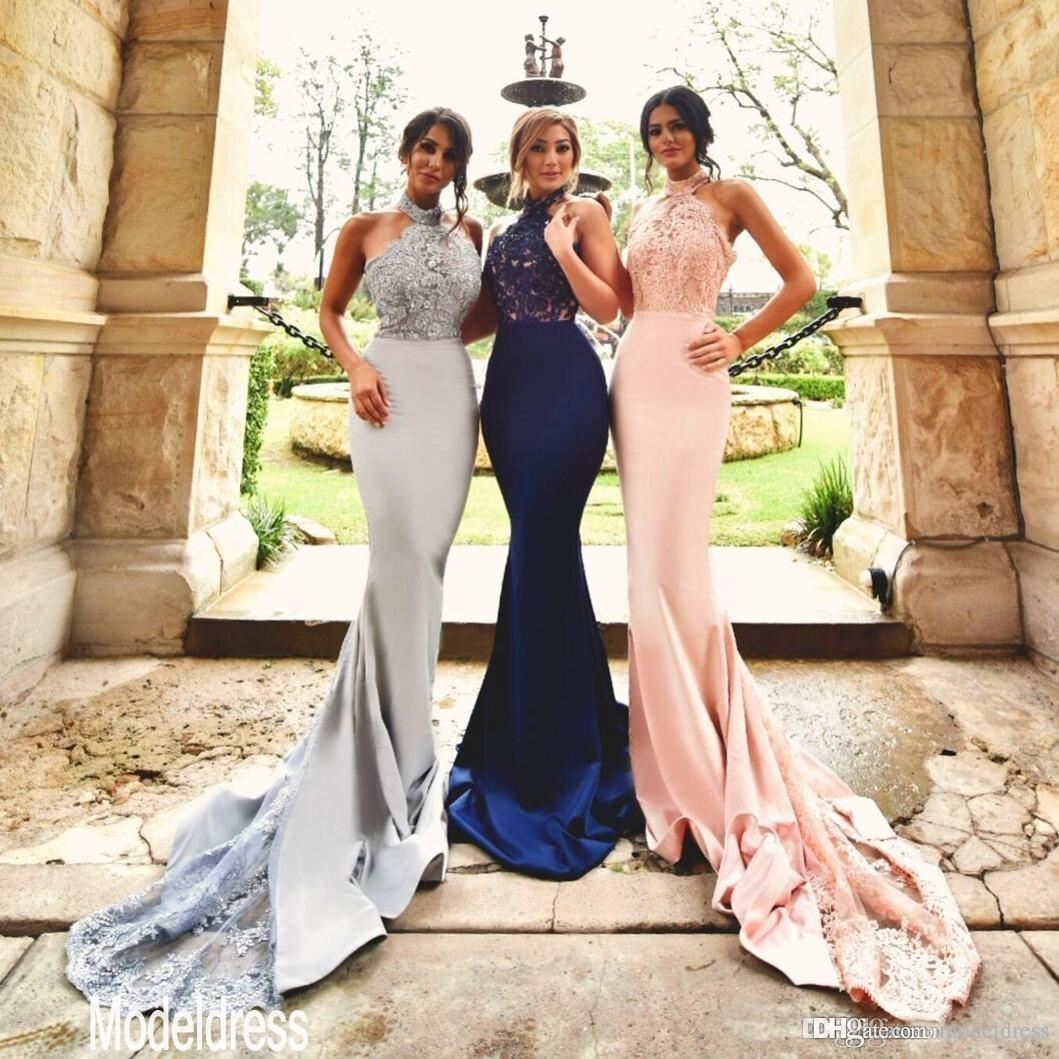 2019 New Design Silver Blush Lace Bridesmaid Dresses Halter Backless Mermaid Long Navy Blue Formal Wedding Guest Dress Party Gowns Cheap