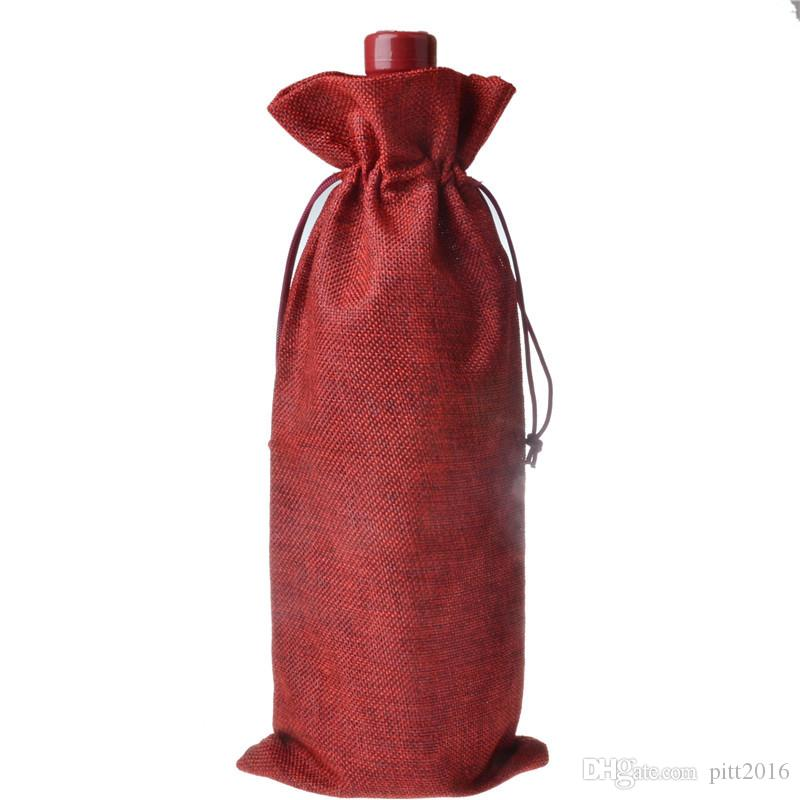 200pcs Jute Wine Bottle Gift Bags Champagne Wine Blind Covers Packaging Gift Pouch burlap Wedding Party Decorate WA2047