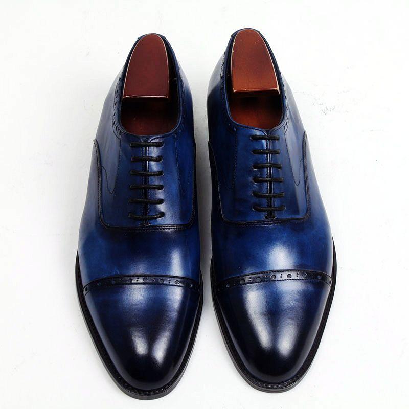 Toe Echtem Von Kleid Herrenschuhe Custom Herren Schuhe Dunkelblau Großhandel Schuhe N157 Square Aus Kalbsleder Oxford Farbe Handmade HD Schuhe Nn0wvm8O