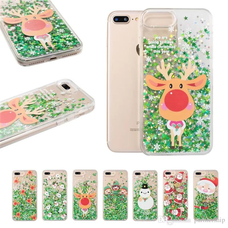 Christmas Phone Case Iphone 7.Cute Glitter Stars Quicksand Christmas Tree Santa Snowman Elk Phone Case For Iphone 7 8 6 6s Plus X Hard Pc Cover Coque Cell Phones Cases Custom Cell