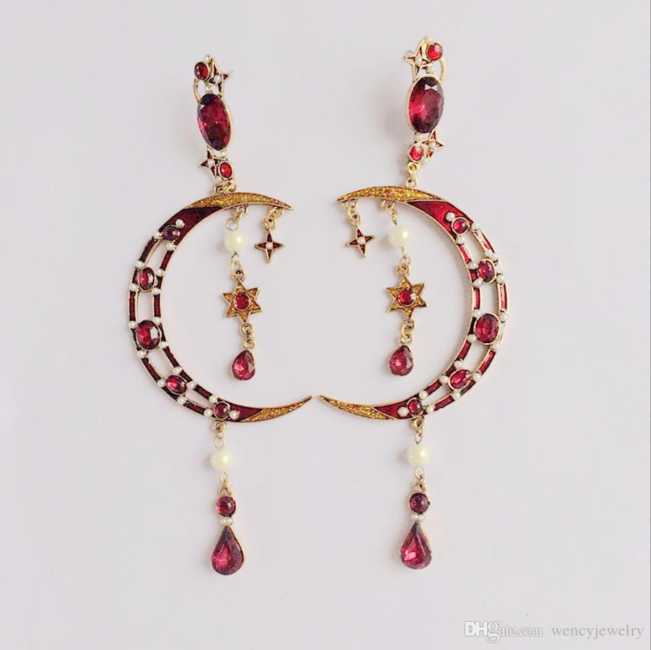 Orecchino delle stelle della luna dolce di nuovo modo di disegno di trasporto libero, perno popolare rosso caldo dell'orecchino di stile della Boemia