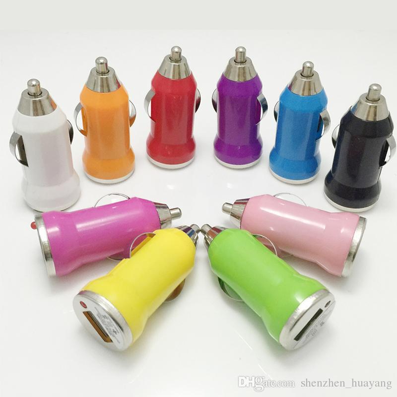 200個USB車の充電器カラフルな弾丸ミニカーチャージポータブルチャージャーユニバーサルアダプターユニバーサルスマートフォンDHL送料無料