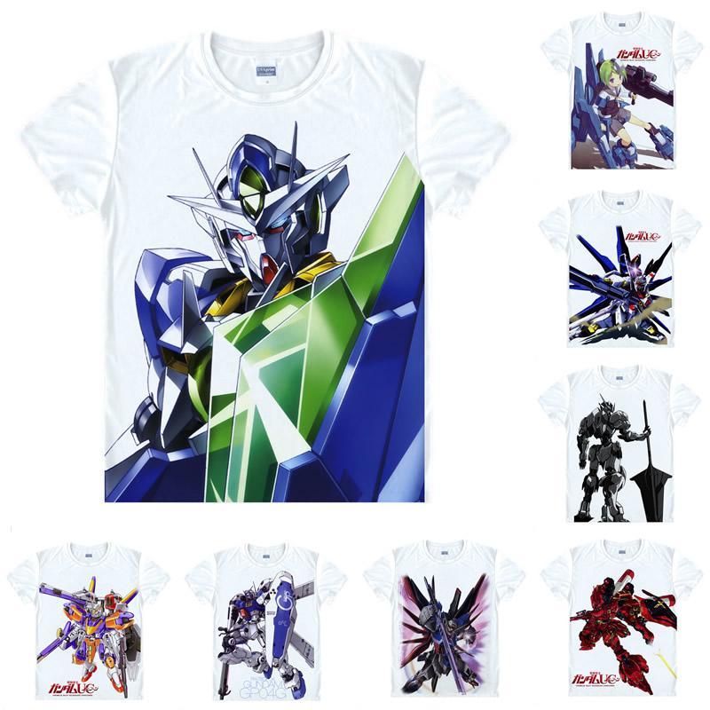 Anime Shirt Mobile Suit Gundam Flügel T-Shirts Multi-Stil Kurzarm Erste Gundam RX-78-2 Riesen Roboter Cosplay Motive Hentai Shirts