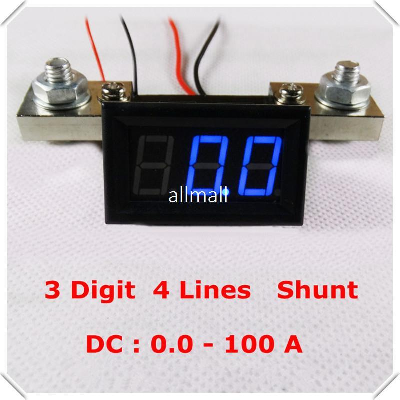 """Freeshipping RD 0.56"""" Digital Ammeter dc 0-100A Four wires 3 digit Current AMP Panel Meter with Shunt led Display Color 3 pieces / lot]"""