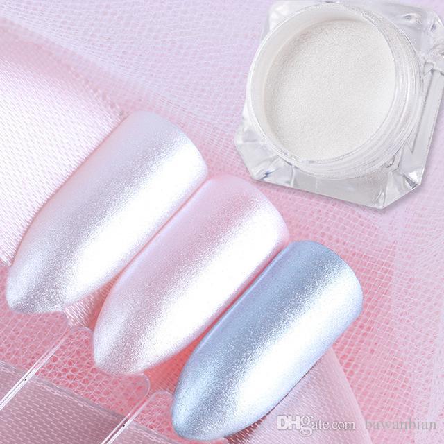 1 Boîte Diamant Perle Sirène Nail Art Blanc Brillante poussière Glitter DIY Nail Decoration Pigment