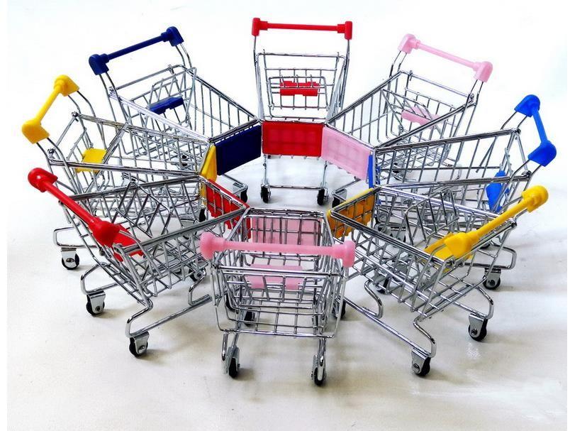30pcs/lot Hot Fashion Mini Supermarket Hand Trolleys Mini Shopping Cart Desktop Decoration Storage Phone Holder Baby Toy New