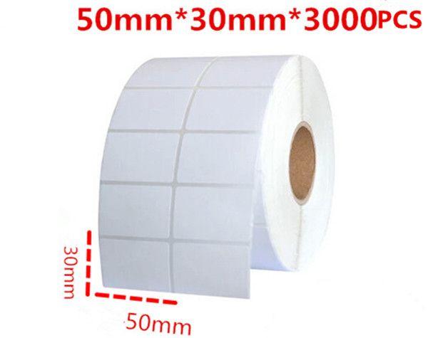 50 * 30mm 3000pcs / rouleau d'étiquettes ou d'étiquettes blanches de code à barres à barres d'autocollant auto adhésives pour imprimante