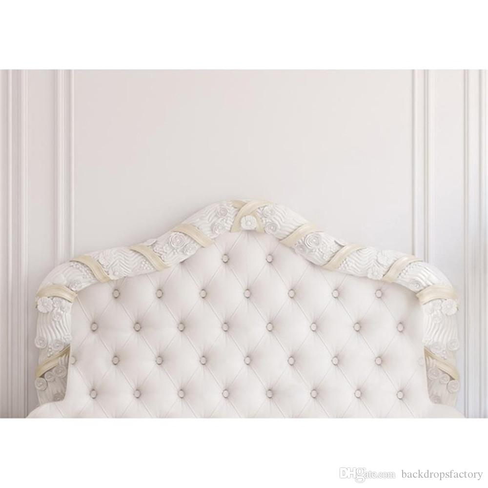 7x5ft Baroque Tufted Headboard Bed Photography Backdrop White Wall Indoor Wedding Princess Picture Background Studio Photo Shoot Props