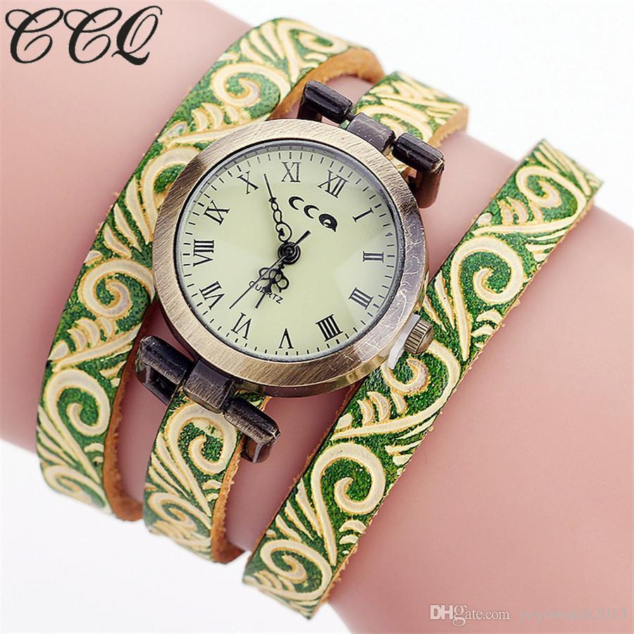 CCQ Marca Moda Vintage Vaca pulsera de cuero reloj de pulsera reloj de pulsera de lujo ocasional reloj de cuarzo dhl libre