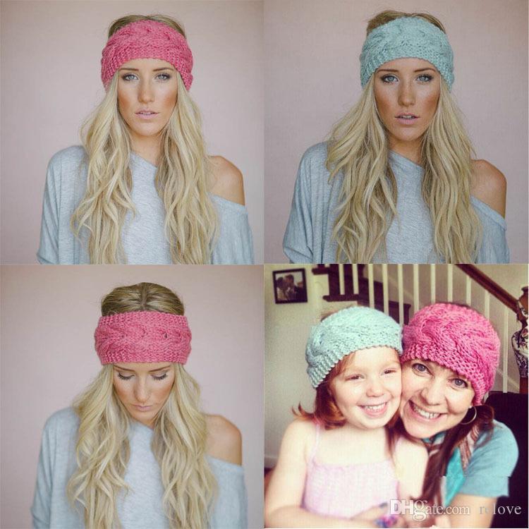23 colorss Kadınlar Moda Yün Tığ Örgü Kafa Hairband Çiçek Kış Kadınlar Kulak Isıtıcı Baş şal