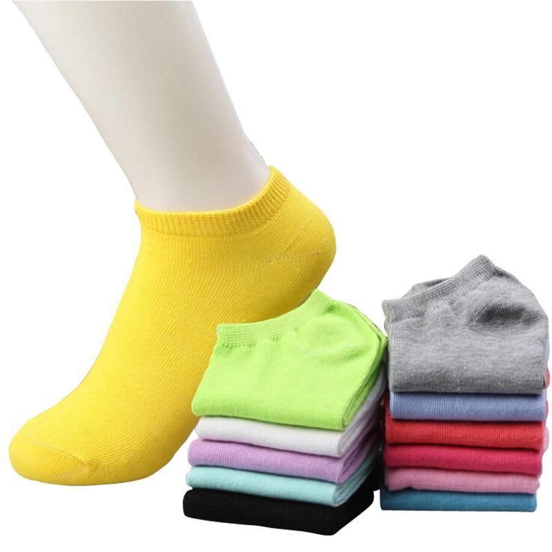 Atacado-20pcs = 10 pares / lote mulheres meias de algodão verão bonito doce cor barco meias tornozelo meias para mulher fina meia chinelos s04